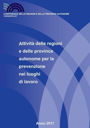 Attività delle regioni e delle province autonome per la prevenzione ...