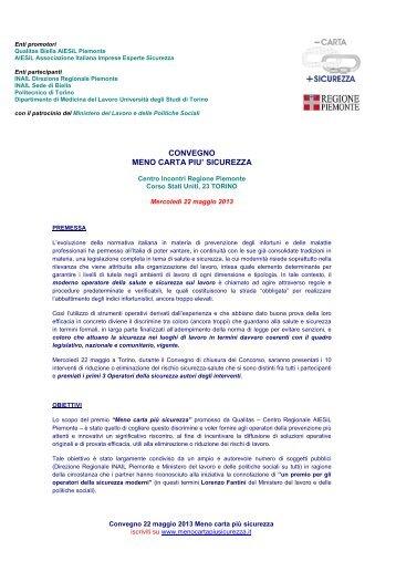 convegno meno carta piu' sicurezza - Ministero del Lavoro e delle ...