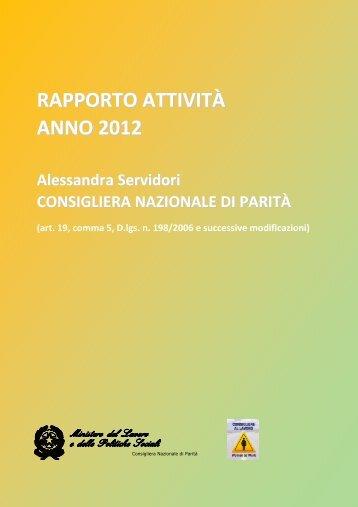 Rapporto anno 2012 - Ministero del Lavoro e delle Politiche Sociali
