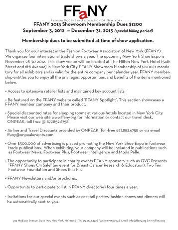 FFANY 2013 Showroom Membership Dues $1200 September 3, 2012