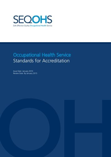 Occupational Health Service Standards for Accreditation - Faculty of ...