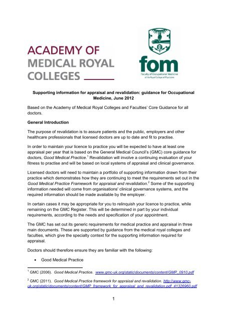 Supporting Information For Appraisal And Revalidation Faculty Of