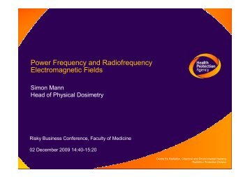 Power frequency and radiofrequency magnetic fields - Faculty of ...