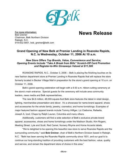 Grand Opening Of New Belk At Premier Landing In Roanoke