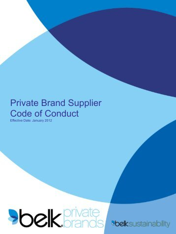 Private Brand Supplier Code of Conduct - Belk.com