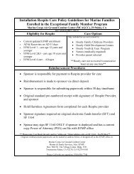 Installation Respite Care Policy Guidelines for Marine Families ...