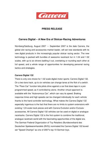 PRESS RELEASE Carrera Digital – A New Era of  Slotcar-Racing ...