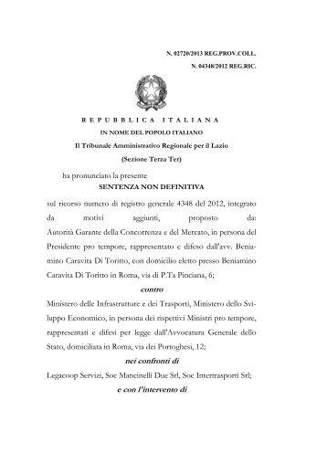 Sentenza non def TAR Lazio su ricorso AGCM - Associazione degli ...