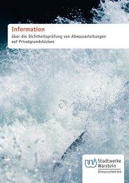 Information über die Dichtheitsprüfung von Abwasserleitungen auf ...