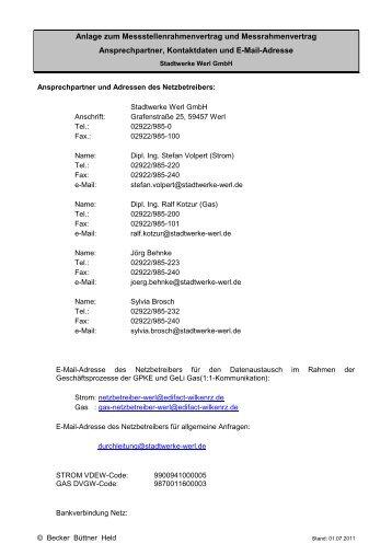 Messstellenrahmenvertrag Anlage - Stadtwerke Werl GmbH