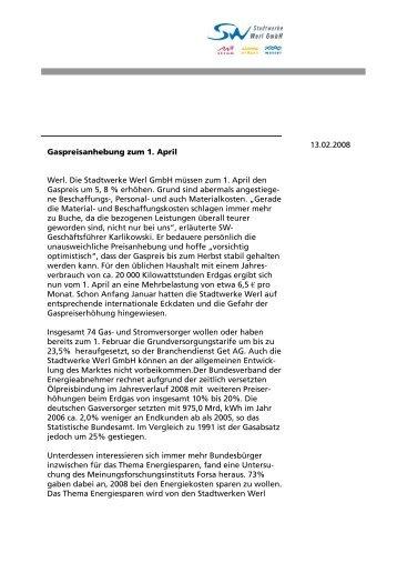 Weitere Informationen - Stadtwerke Werl GmbH