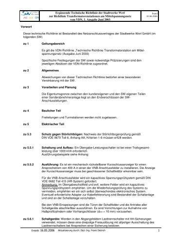 Ergänzende Bedingungen SW 10-kV Trafostationen am Mittelspg-Netz