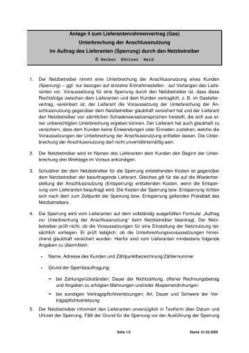 Anlage 4 zum Lieferantenrahmenvertrag (Gas) - Stadtwerke Werl ...