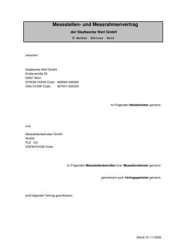 Messstellen- und Messrahmenvertrag - Stadtwerke Werl GmbH