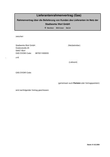 Lieferantenrahmenvertrag (Gas) - Stadtwerke Werl GmbH