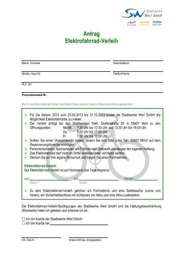 Antrag Elektrofahrrad-Verleih - Stadtwerke Werl GmbH