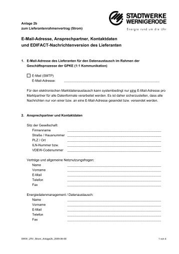 E-Mail-Adresse, Ansprechpartner, Kontaktdaten und EDIFACT ...