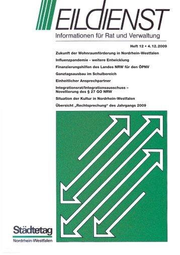 Heft 12 • 4. 12. 2009 Zukunft der Wohnraumförderung in Nordrhein ...