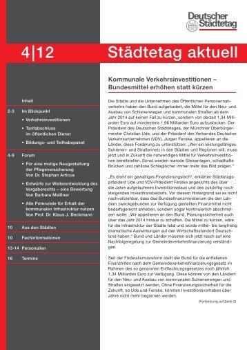 4|12 Städtetag aktuell - Deutscher Städtetag