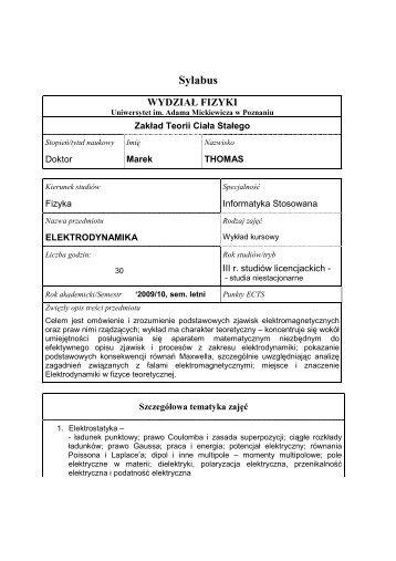 Elektrodynamika - Uniwersytet im. Adama Mickiewicza