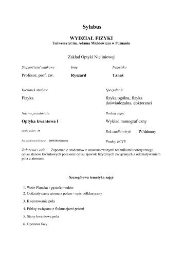 Sylabus - Uniwersytet im. Adama Mickiewicza