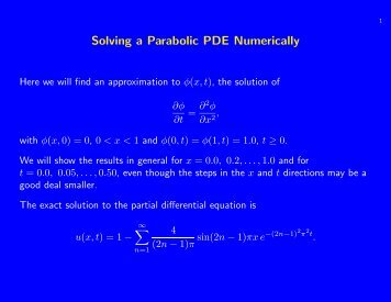 Numerical solutions of Parabolic problem using and ... - Staff.city.ac.uk