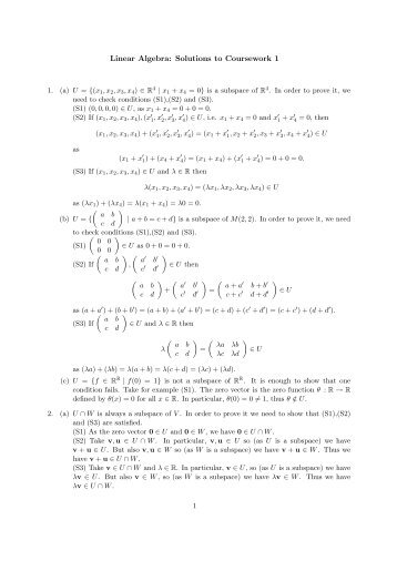 Linear Algebra: Solutions to Coursework 1 - Staff.city.ac.uk