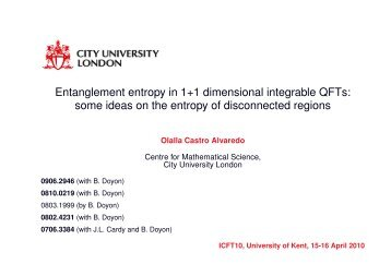 entanglement entropy of disconnected regions - Staff.city.ac.uk - City ...