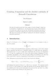 Counting β-expansions and the absolute continuity of Bernoulli ...
