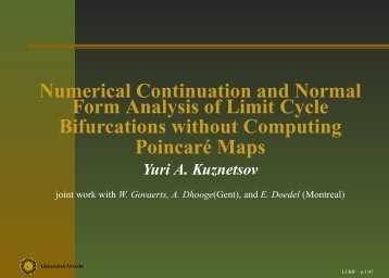 Numerical continutation and normal form analysis of limit cycle ...