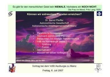 Können wir extrasolare Planeten erreichen? - Staff.uni-mainz.de