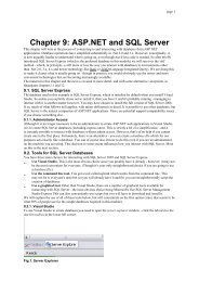 Chapter 9: ASP.NET and SQL Server