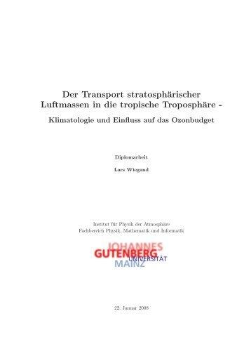 Der Transport stratosphärischer Luftmassen in ... - Staff.uni-mainz.de