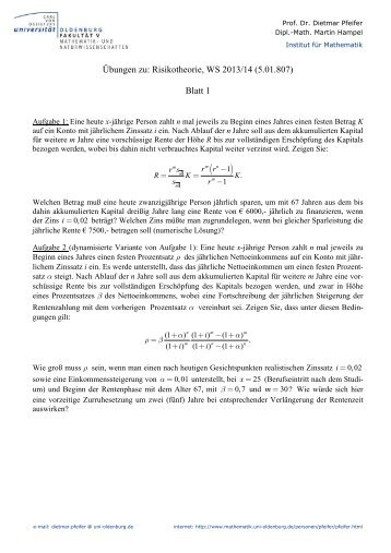 Übungen zu: Risikotheorie, WS 2013/14 (5.01.807) Blatt 1