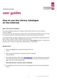 How to use the Library Catalogue on the Internet - Staffordshire ...