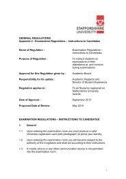 Appendix 2: Examination Regulations - Staffordshire University