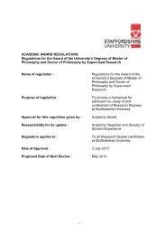 Research Degree Regulations - Staffordshire University