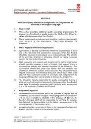 X. Additional quality assurance arrangements for programmes not ...