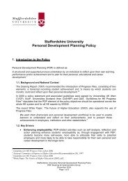 Staffordshire University Personal Development Planning Policy ...
