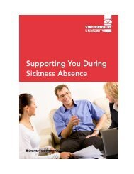 Supporting you During Sickness Absence - Staffordshire University