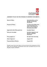 Storage of University Documents - Staffordshire University