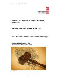 Forensic Science and Criminology - Staffordshire University