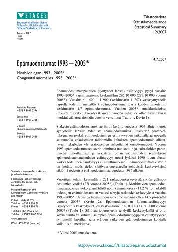Epämuodostumat 1993-2005* - Missbildningar 1993-2005 ...