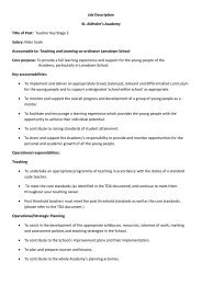 Teacher Key Stage 3 Salary: Main Scale Accountable to: Teaching ...