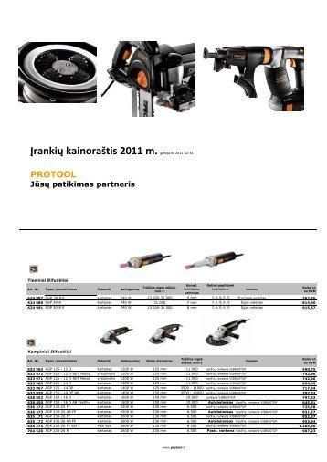 Įrankių kainoraštis 2011 m.