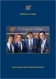 Senior School New Student Information St Aloysius' College