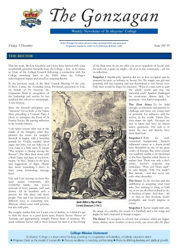 Friday, 3 December Issue 10/35 THE RECTOR - St Aloysius