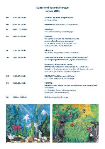 Kultur und Veranstaltungen Januar 2013 - im Sanatorium Haus am ...