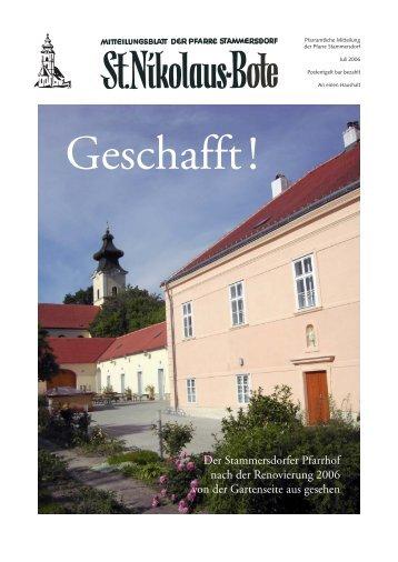 Der Stammersdorfer Pfarrhof nach der Renovierung 2006 von der ...