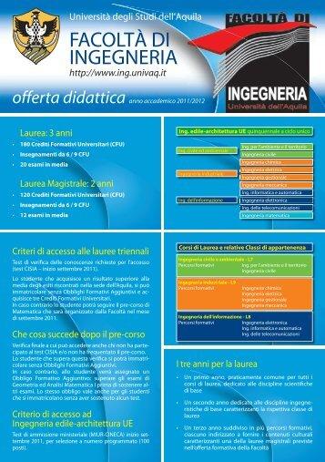 Brochure dell'offerta formativa - Ingegneria - Università degli Studi ...